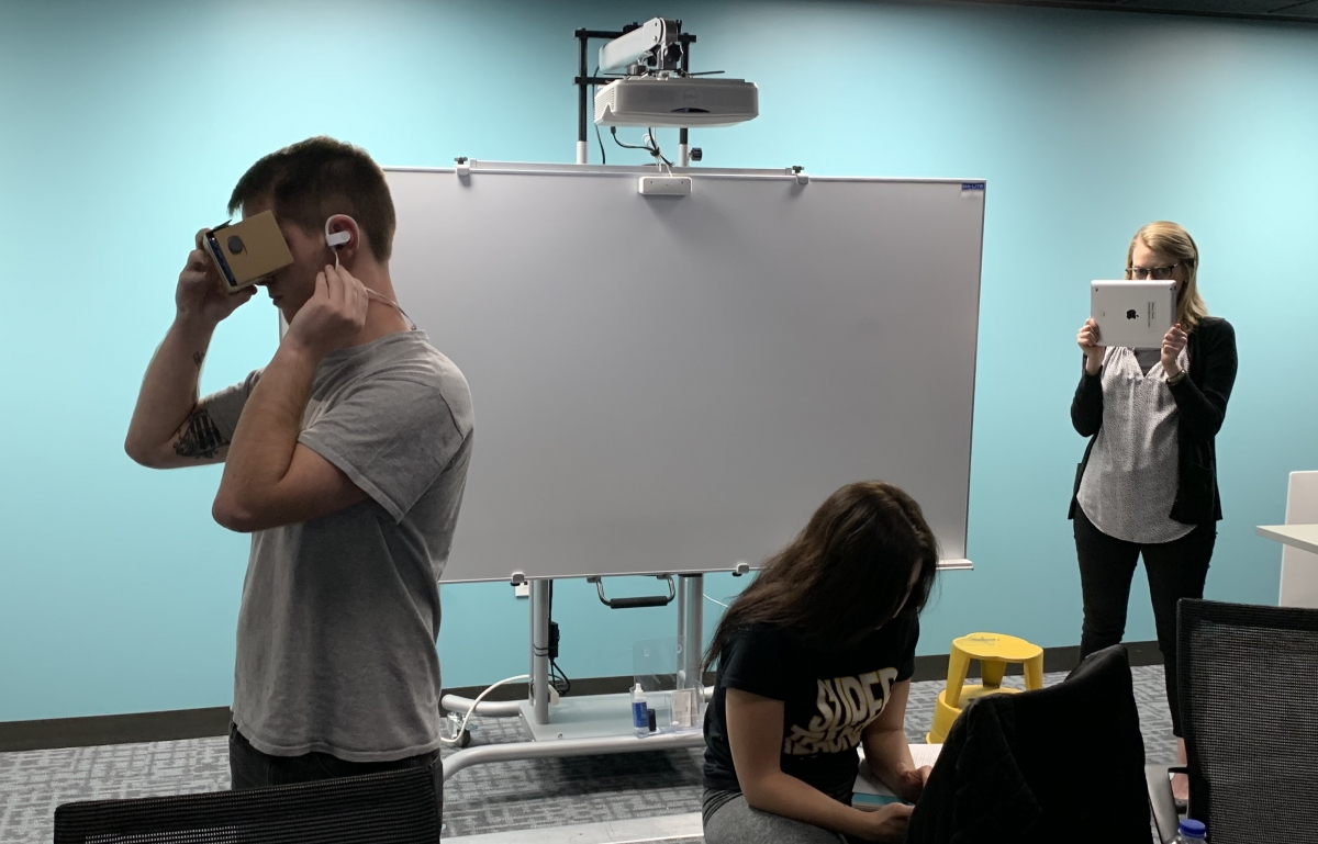 Student working with virtual reality headset