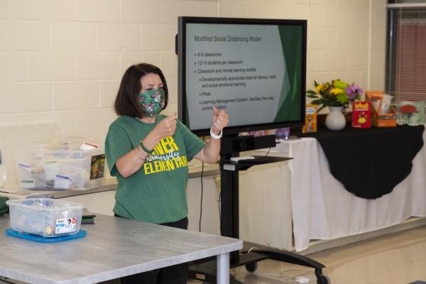 Principal Pamela Broome presents at Niner University Elementary